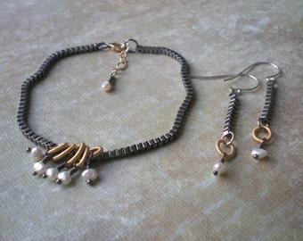 Jewelry Set Industrial & Feminine | Matching Set | Urban Chic | Oxidized Chain | Rustic Bracelet | White Pearl | Birthday Gift Teen Girl
