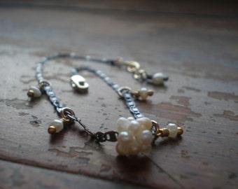Pearl Bracelet - Freshwater Pearl Cluster Focal - Gift Idea for Teen Girl - Delicate Dainty Bracelet - Bat Mitzvah Gift - Mixed Metal - Boho