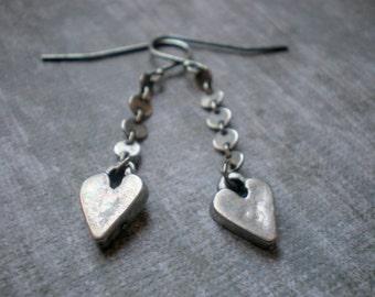 Silver Heart Earrings / Rustic Heart / Christmas Stocking Stuffer / Chain Earrings / Hanging Heart / Teen Everyday Earrings / Made in Israel