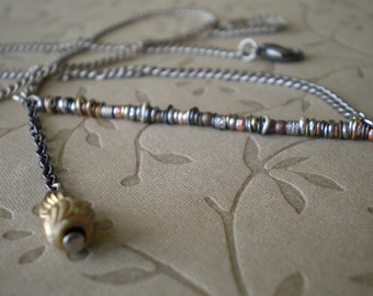 Layering Necklace | Mixed Metal | Minimalist Necklace | Beaded & Stacked Stick | Organic Texture | Asymmetrical | Statement Jewelry |Trapeze