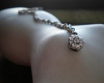 Mixed Metal Snake Bracelet With Rhinestone Box Clasp / Organic Bracelet / Flower Closure / Earthy & Elegant / Rustic Feminine Jewelry / Mom