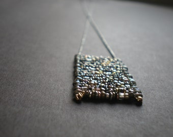 Ladder Necklace - Everyday Long - Rustic Necklace - Mixed Metal Beads -  Boho Necklace - Square Pendant  - Birthday Gift Mom - Rows Of Beads
