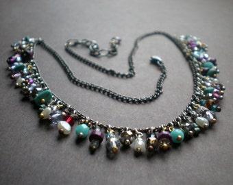 Bib Fringe Necklace, Beaded Necklace, Colorful Choker, Beach & Cruisewear, Mediterranean Sunset, Purple Aqua Blue, BFF Gift, Mother, Boho