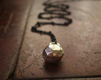 Golden Nugget Necklace 2 - Black Chain