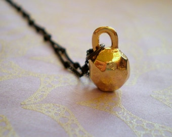 Gold Plated Nugget Necklace - Black Chain - Boho Jewelry - Kettlebell Charm - Fun Everyday Necklace - Gift Teen - Gift Christmas