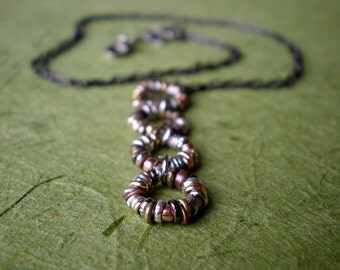 Metal Link Necklace/Mixed Metal Bead Jewelry/Cascade Of Circles/Earthy & Organic/Rustic Necklace/Boho Coachella Necklace/Grunge Fashion/Gift