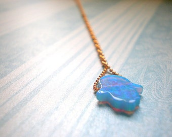 Hamsa Glow Necklace - Synthetic Opal Blue Flashes - Tiny Small Good Luck Charm - Sacred Symbol Israel - Hand Of Fatima - Bat Mitzvah Gift