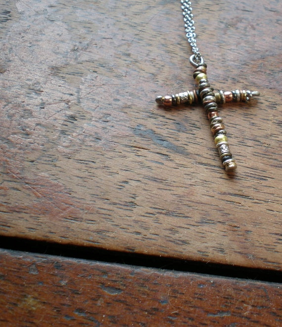 Cross O'Links Necklace - Holy Cross Necklace - Made In Israel - Religious Symbol - Rustic Cross -  Christmas Gift - Crucifix Necklace