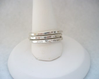 3 little hammered rings
