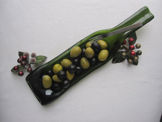Sassy Olive Green Wine  Bottle Serving Dish