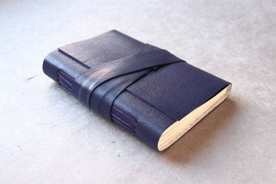 Reserved Item - Purple leather journal or sketchbook