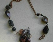 Fear Of Intimacy Necklace   handmade paper recycled  copper and brown