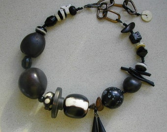 Great Big Black and White Choker Necklace- recycled