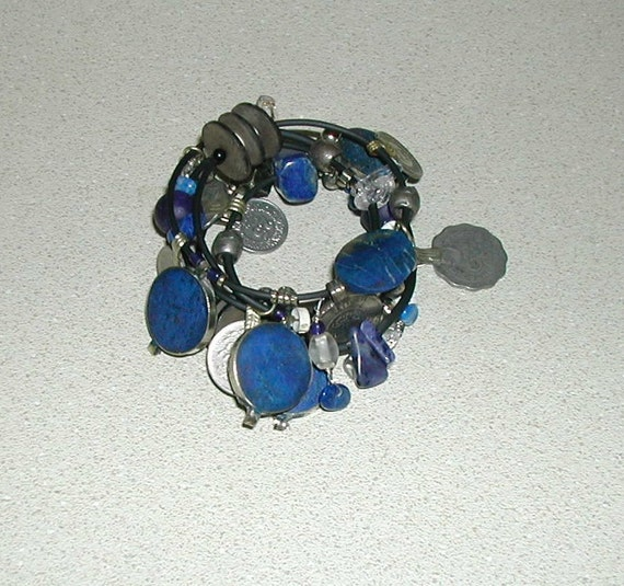 BRACELET - lapis lazuli  and coin  tribal wrap bracelet- recycled repurposed reused