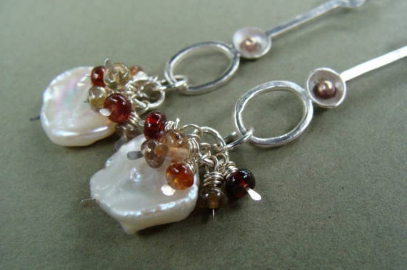Silver Gold Sapphire Pearl Dangle Artisan Earrings