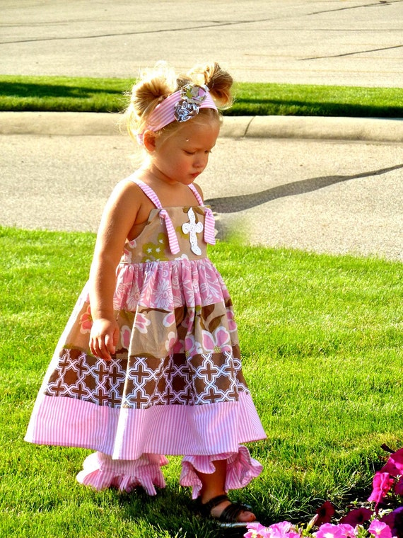 Sale - 3 pc Twirl Cross dress, ruffle pants and headband