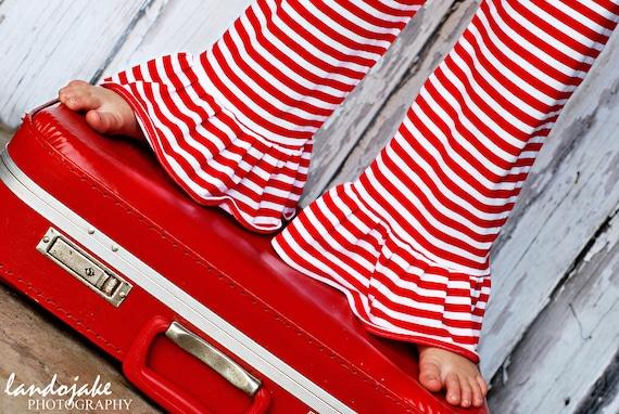 Stripe knit ruffle pants - pick your color