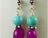 Chinese 8 mm Round Turquoise and Fuchsia Jade Nugget Sterling Silver Earrings