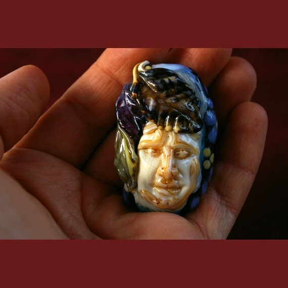 Greenman Bead - Oceanus - Lampwork Glass Wearable Sculpture by Cleo Dunsmore