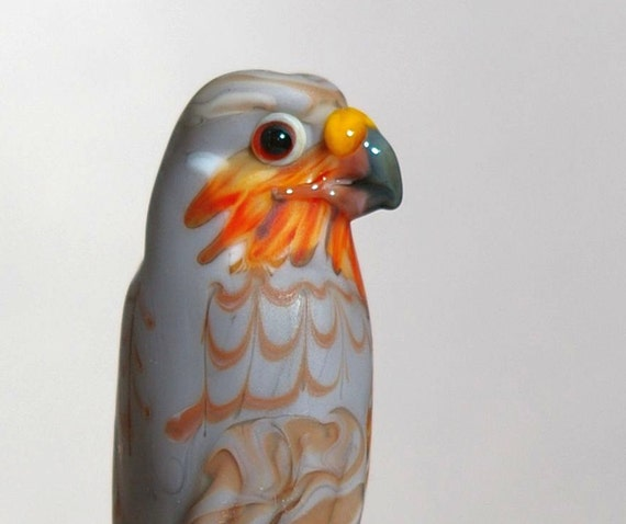 Sharp Shinned Hawk glass lampwork wildlife bead sculpted by Cleo Dunsmore  Gramatortoise