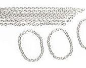 Tin Charm Bracelet Bright Silver Package of 10 Bracelets