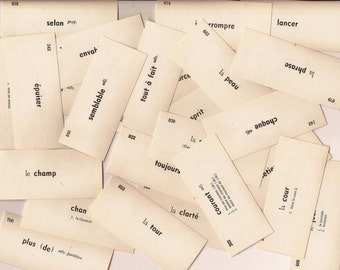 Vintage French Vocabulary Cards Set of 100 Mixed Media Altered Art Collage