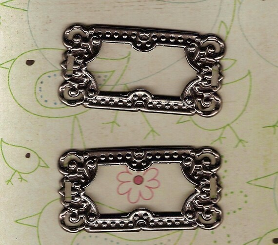 Domino Frame Fancy Silver Label Holders Scrapbooking Altered