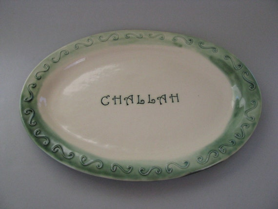 Challah Serving Platter in Green and White
