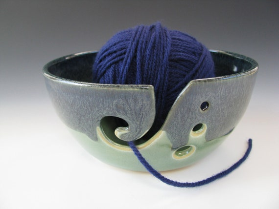 Ceramic Yarn Bowl Knitting Bowl in Midnight Blue and Spearmint Green
