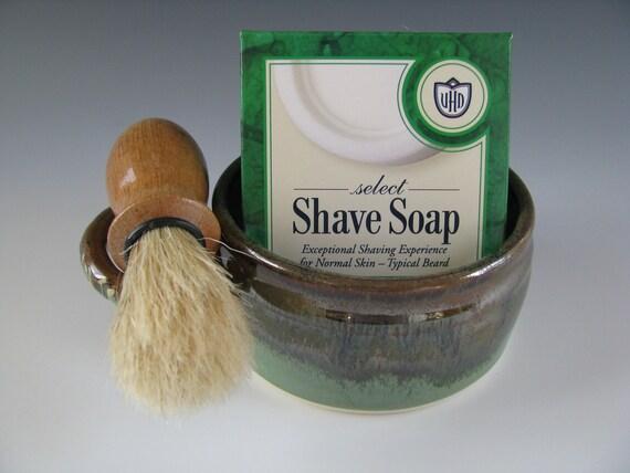 Shaving Mug Kit in Brown and Spearmint