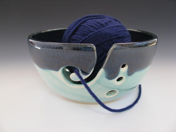 Ceramic Knitting Bowl / Yarn Bowl in Dark Blue and Turquoise