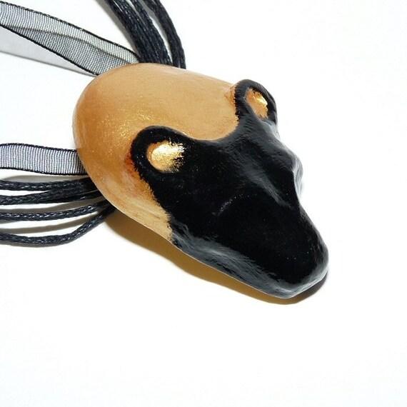 Sekhmet necklace, black, golden