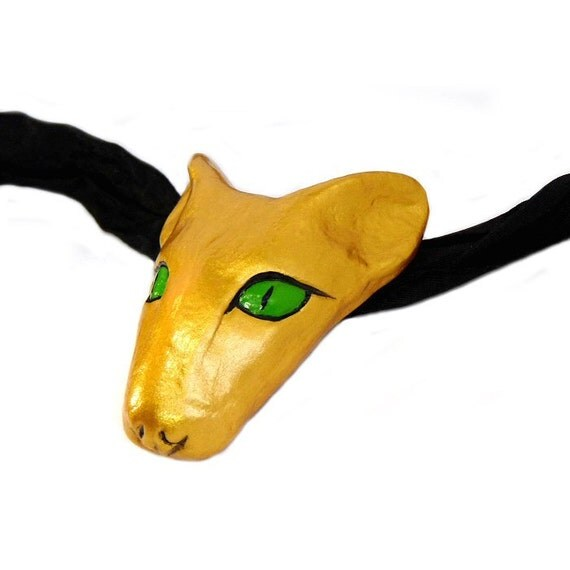 Golden Bast Amulet with Green Eyes