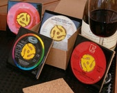SET OF 4 45 RPM RECORD DRINK COASTERS - YOUR CHOICE  AND GET FREE SHIPPING