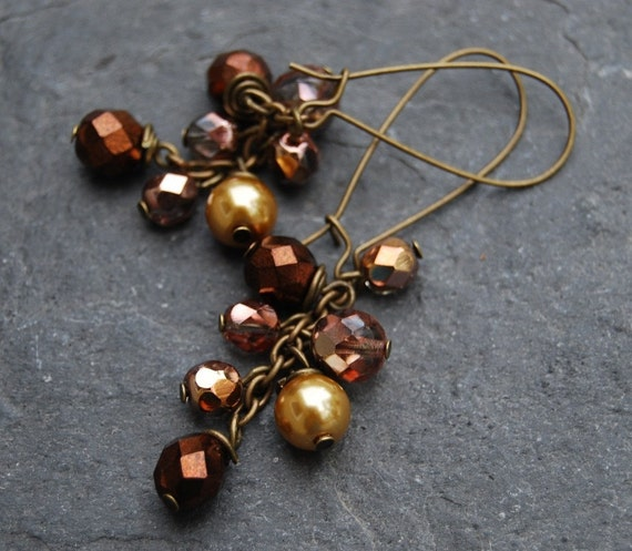 Shades of Gold Cluster Earrings