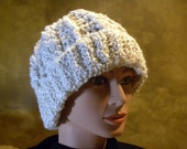 Ivory Irish Aran Style Crocheted Hat With Turned-Up Brim and Ribbed Edge