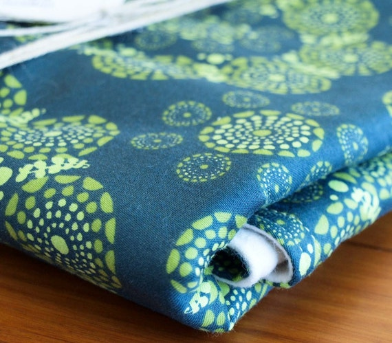 SALE, Green Floral Baby Blanket; Green and Navy Blue Baby Blanket Gift, Organic Blanket, New Baby Gift, Gender Neutral, Handmade in Canada