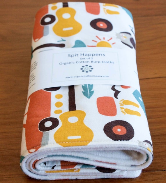 HAPPY SUMMER organic cotton burp cloths, set of two