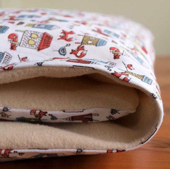 Organic Crib Duvet Cover, MADE TO ORDER, Fox in the Henhouse and Cozy Flannel