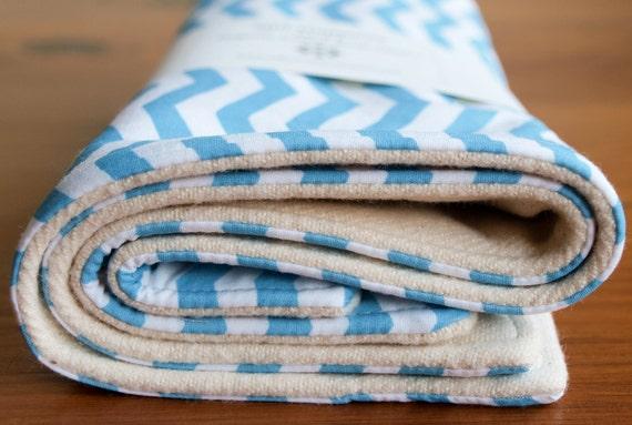 Organic Burp Cloths, Set of Two in Blue Chevron