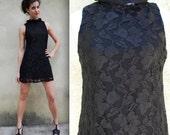 Vintage 90s does 60s Black Lace Little Black Dress Mini Shift Dress (size small, medium)