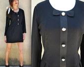 Vintage 80s does 60s Black Mini Shift Dress (size medium, large)