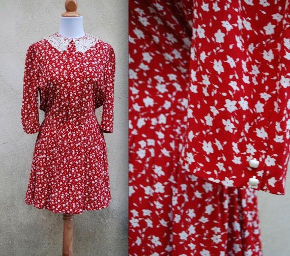 Vintage 80s 90s Teacher's Pet Red and White Floral Crochet Collar Secretary Mini Dress size medium, large