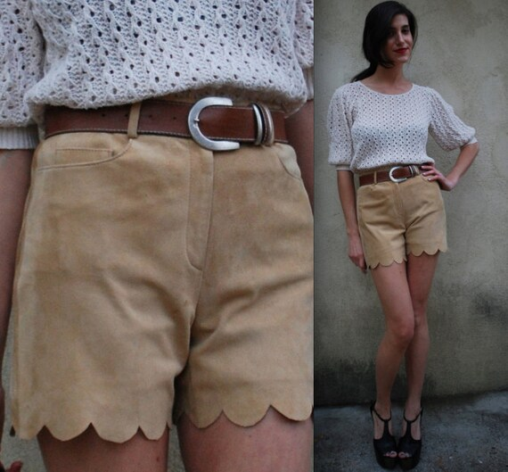 Repurposed Vintage Banana Leather Mid Rise Scalloped Trouser Shorts (size 2, small)