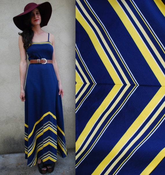 Vintage 70s Navy and Yellow Striped Chevron Maxi Dress
