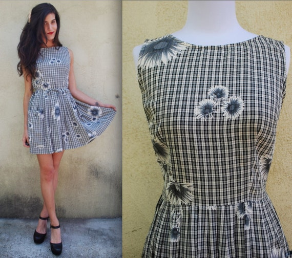 Vintage 90s Black and White Floral Gingham Mini Sundress (size small, medium)