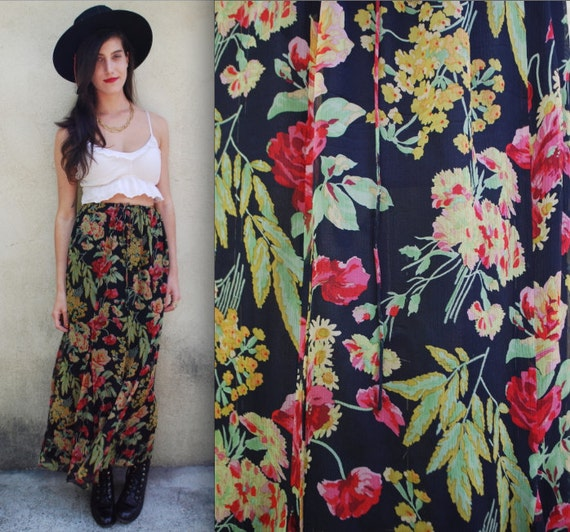 Vintage 90s Ralph Lauren Silk Floral Drawstring Midi Skirt