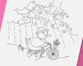 Embroidery Pattern Ducky with Her Bicycle