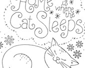Embroidery Pattern Cat Sleeping