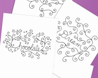 Embroidery Pattern of Word Doodles (Love Inspire Dream Chocolate)